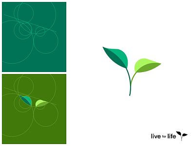 Flat geometric logo • Life for Life geometry circles simple plant stem leaf green creative vector branding logo flat illustration colorful clean