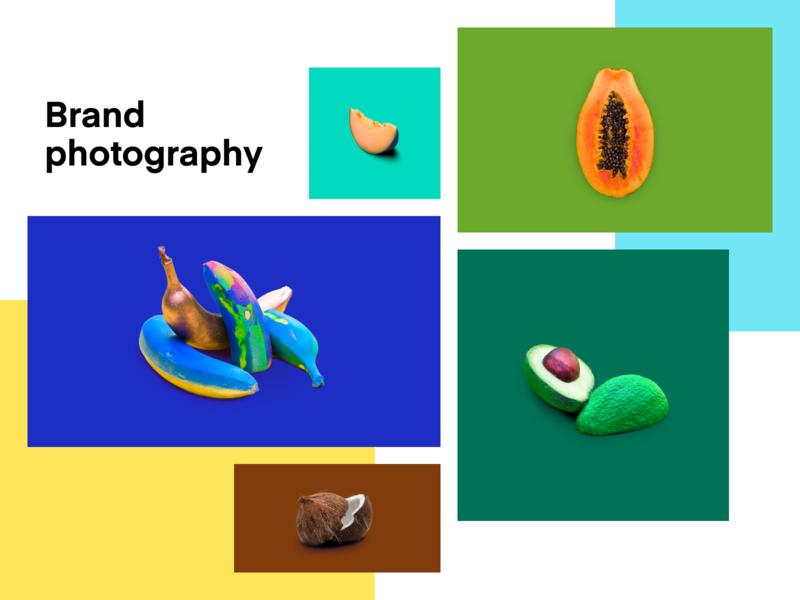 Brand photography • Personal brand clean layout coconut avocado bananas papaya melon art flat photos grid masonry collage creative colorful