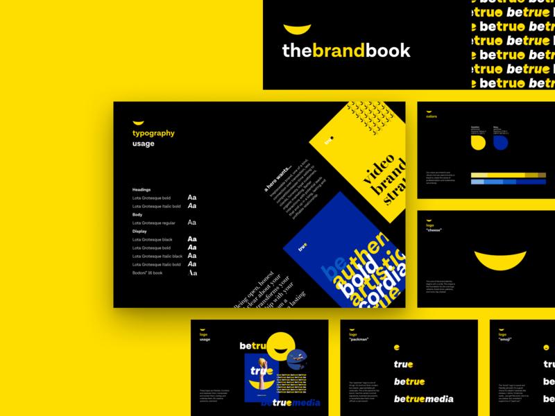 Brand guidelines book • betruemedia logos flat deck presentation slide color palette swatch poster font mark logotype dark yellow bold branding icon typography logo