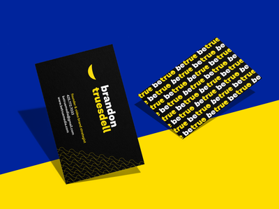 Business cards • betruemedia back front mockup perspective blue black yellow pattern contrast bold dark business card agency print brand identity branding