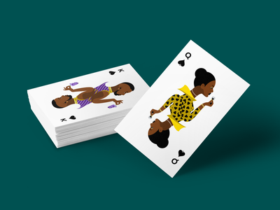 Playing cards hands people spades game mockup grapes dice contrast crisp modern bold flat illustration queen king
