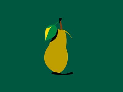 Pear illustration art shadows green leaf fruit colorful bold flat