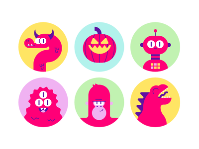 Monster icons godzilla king kong robot dragon pumpkin illustrator vector monsters icons