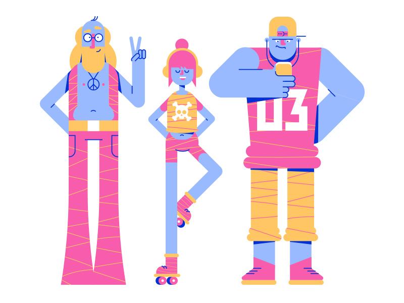 Peeps character design music people characters illustrator 2d