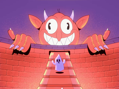 Escalator to Hell vintage cuphead retro cartoon 2d animation ghost hell devil after effects 2d