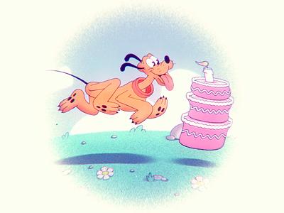 Happy birthday Pluto! 🐾🎂 loop disney vintage birthday cake birthday run cycle walk cycle dog pluto animation 2d animation 2d