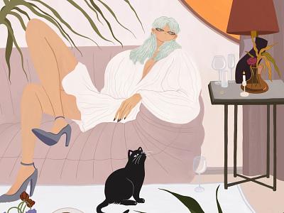 Lounge interior cat digital painting drawing digital art cool girl character illustration artwork