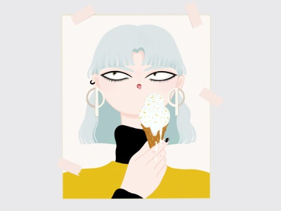 Ice Cream Eater digital painting accessory digital art cool girl character illustration artwork colorful