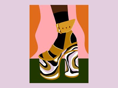 Swirly Heel colorful artwork fashion illustration shoe digital art illustration