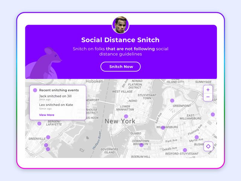 Social DIstance Snitch maps purple minimal dashboard snitch 6ix9ine product design social distancing quarantine concept app webdesign mockcup ux design ui design interaction design