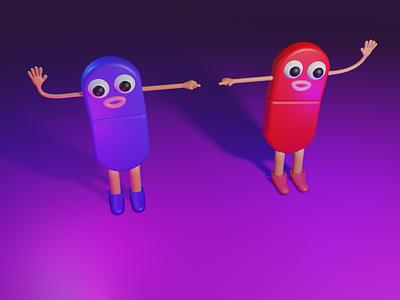 Red pill or blue pill character design eevee lowpoly cute art 3d blender3d digitalart 3d art