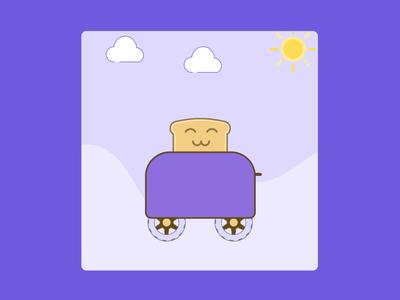 Toast Drive cute illustration motiongraphics lottie illustraion toaster 2danimation