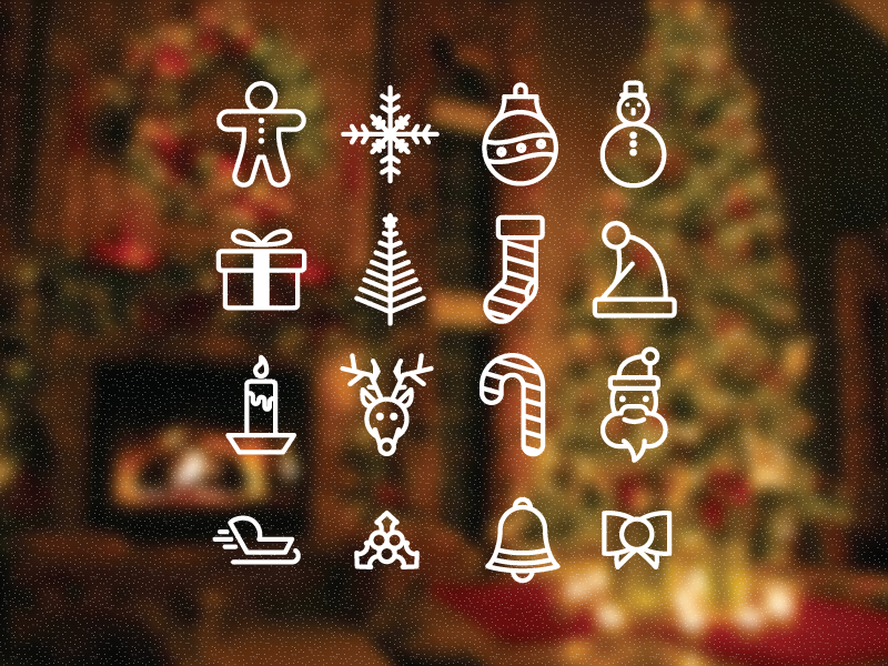 Christmas Icons icons christmas tree santa gift hat reindeer candle ball sledge ginger candy