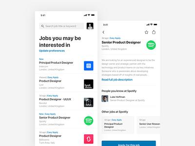 LinkedIn Redesign simple white iphone ios redesign minimal ux ui linkedin design
