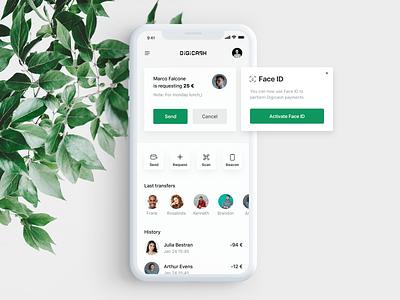 Digicash digicash green iphone x iphone product ux ui design digital cash money bank minimal mobile application app