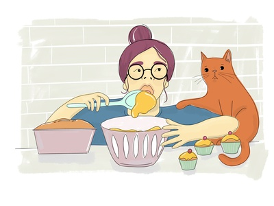Stay home, bake and eat line colourful colour illo procreate support cakes messy baker quarantine stay safe stay home home cats interior cooking baking hand drawn illustration