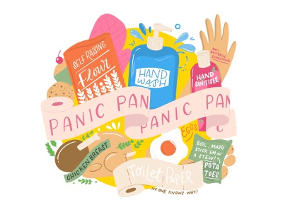 Panic Buying quarantine panic buying veg fruit bright products illustration recipes ingredients typography groceries food shopping food illustration vector hand lettering hand drawn colour illustration