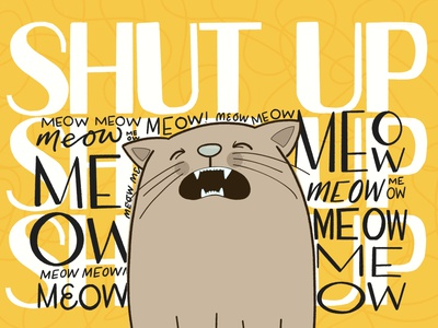 Kitty when everyone is working during lockdown cat life living with cats quarantine letters simple illustration kids illustration meow lettering characters cat character animal illustration ipad pro cats animals type typography hand lettering colour hand drawn illustration