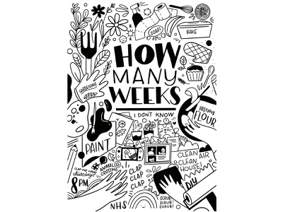 How many weeks are we on now? animal crossing nintendo switch cooking diy stayathome clapforcarers cleaning wfh painting baking floral monochrome gardening animals quarantine type vector typography hand drawn illustration