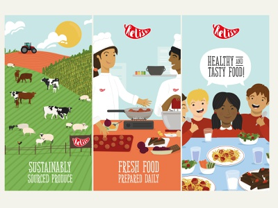 Relish School Catering Graphic Environment Illustrations color pallete fresh food school sustainable food illustration recipe cooking farming character design educational childrens illustration kids illustration education food education food origin farm to fork vector colour hand drawn illustration