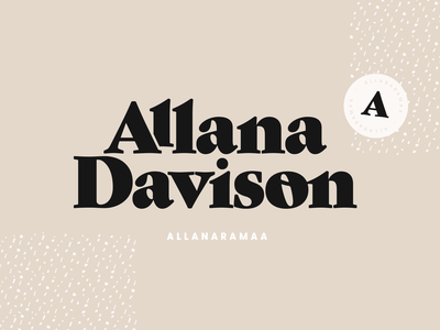 Allana Davison Branding Package chunky letters neutral colors colour palette logo icon packaging design packaging mockup pattern design influencer marketing youtube logo brand design brand identity logo design logotype illustration type design branding vector logo typography