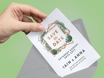 Geometric Wedding Save the Date cards