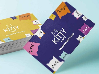 Membership card kitty branding colour graphic cute design loyalty card illustration typography cats