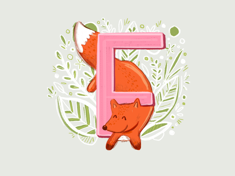 36 days of type - F pink letters botanical leaves alphabet fox illustration typography type ipad pro hand lettering 36 days of type