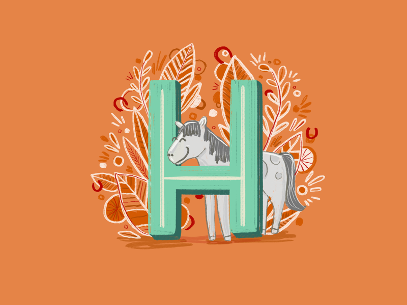 36 days of type - H botanical leaves ipadpro handrawn illustration lettering type typography hand lettering horse 36 days of type