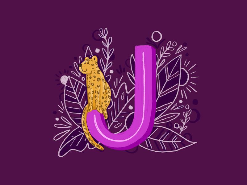 36 days of type - J lettering ipad pro illustration botanical leaves hand drawn hand lettering alphabet animals jaguar 36 days of type