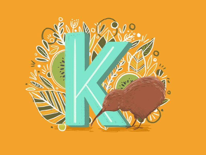 36 days of type - K typography type leaves illustration hand lettering hand drawn botanical birds alphabet 36 days of type