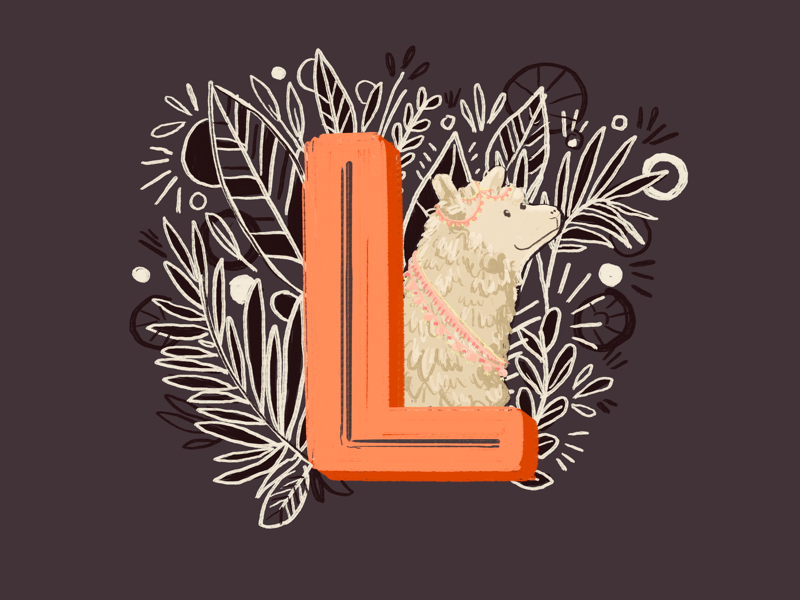 36 days of type - L botanical lettering illustration animals leaves hand drawn hand lettering typography llama 36 days of type