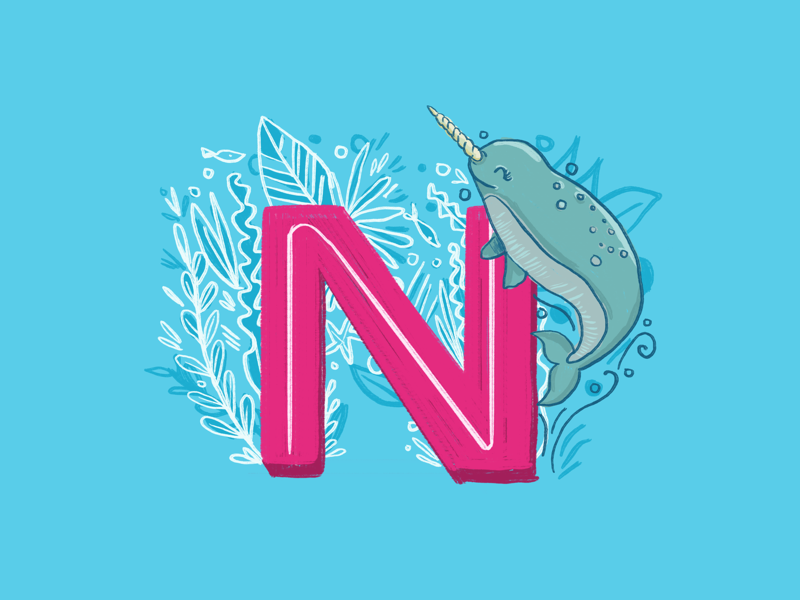 36 days of type - N letter whale leaves sea life narwhal hand drawn hand lettering typography alphabet 36 days of type