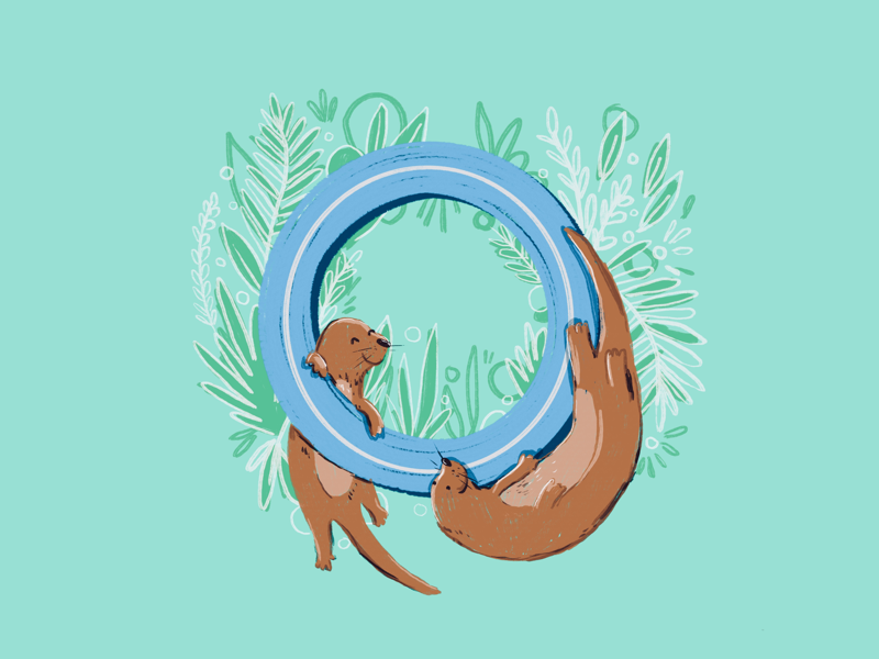 36 days of type - O 36 days of type typography otters animals alphabet hand lettering hand drawn