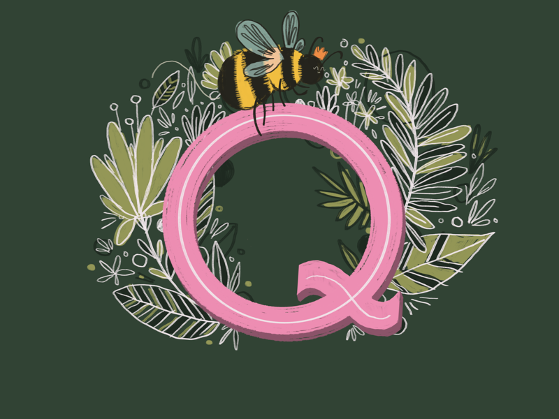 36 days of type - Q alphabet hand drawn queen bees typography hand lettering type illustration 36 days of type
