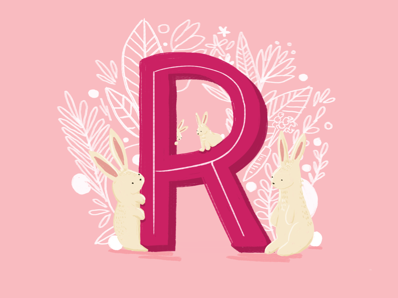 36 days of type - R type letters kidlit alphabet hand drawn hand lettering rabbits typography 36 days of type