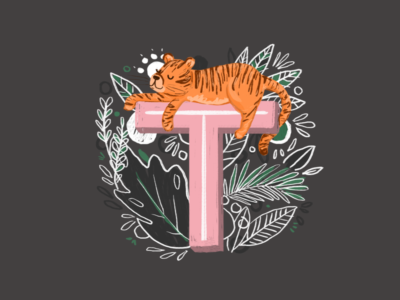 36 days of type - T botanical hand drawn hand lettering type typography alphabet illustration tiger 36 days of type