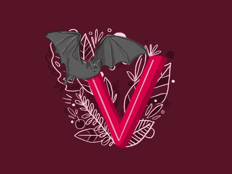 36 days of type - V vampire bat letters alphabet illustration type hand drawn hand lettering typography 36 days of type
