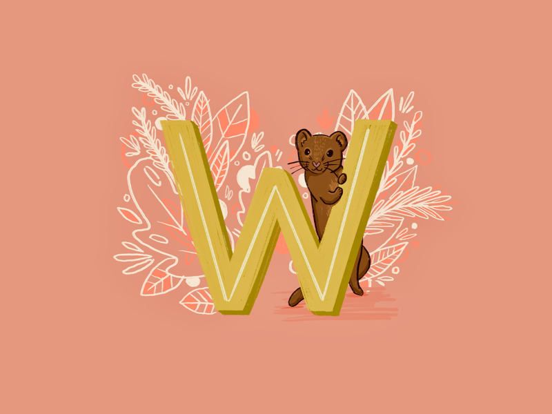 36 days of type - W kidlit alphabet letters hand drawn hand lettering typography type illustration 36 days of type