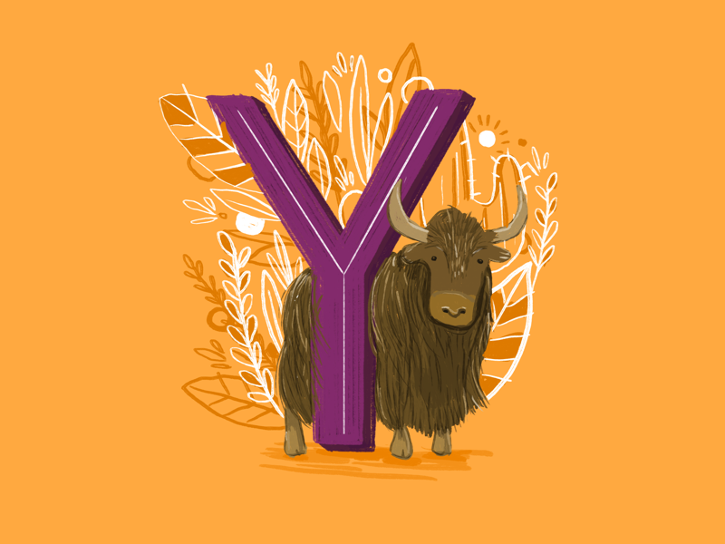 36 days of type - Y botanical yellow yak hand drawn typography hand lettering type illustration 36 days of type