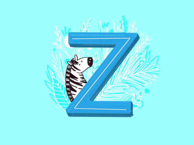 36 days of type - Z kidlit alphabet animals zebra hand drawn hand lettering typography type ilustration 36 days of type