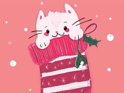 Kitty Stocking festive hand drawn animals kitten ipad pro procreate pink stocking christmas character illustration cats