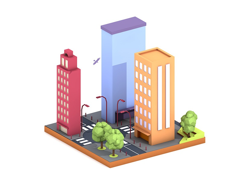 Low poly city illustration city illustration lowpoly 3d