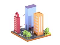 Low poly city illustration