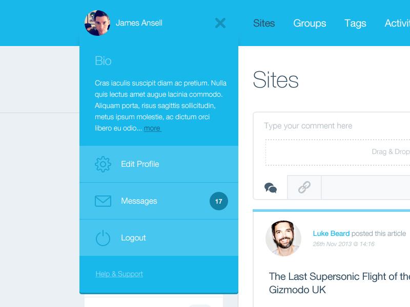 Drop Down ui ux dashboard drop down user settings profile blue icons bio