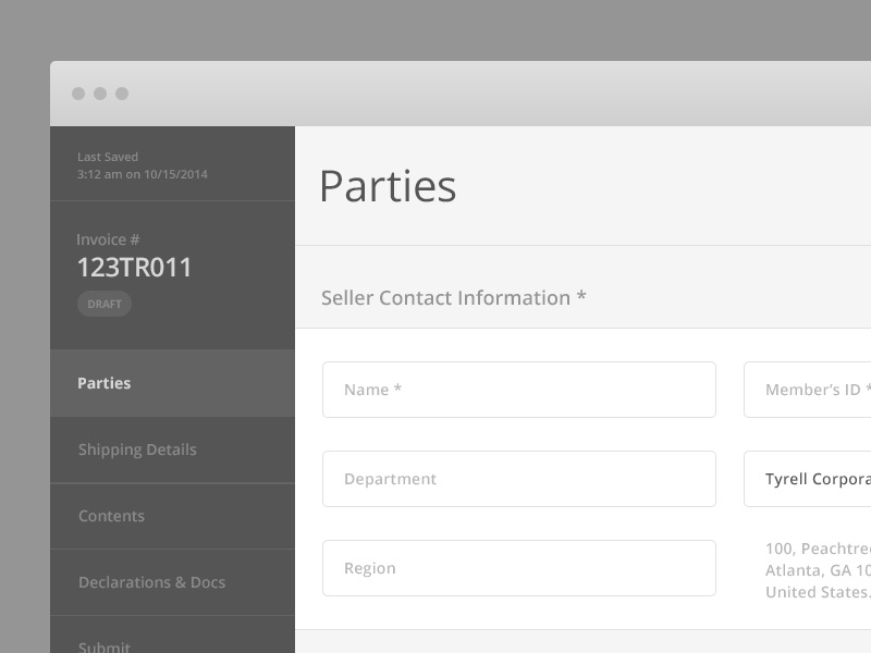 Wire Parties ui ux wireframe invoice drop down forms monotone
