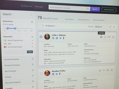 Wip dashboard ui ux search toggle application profile scroller clean icons job