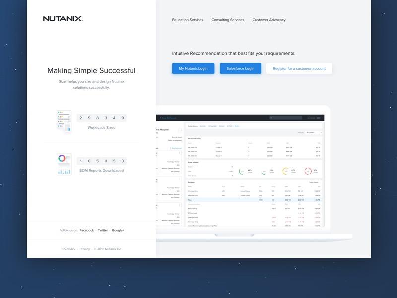 Nutanix Sizer 3.0 Login enterprise modern graphs clean information architect ux ui