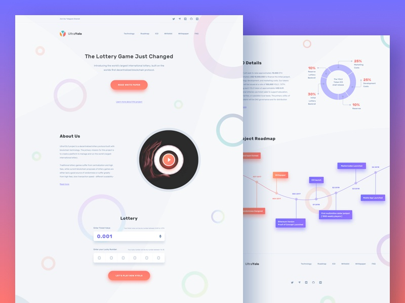 Landing Page Design - UltraYolo Lottery colorful innovative fresh modern clean website design web design landing page home page