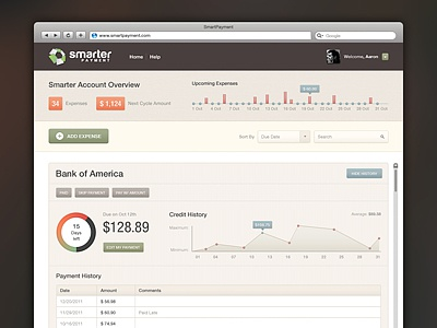 Dashboard Smart Payment ui ux dashboard graph chart app brown financial orange green blue yellow